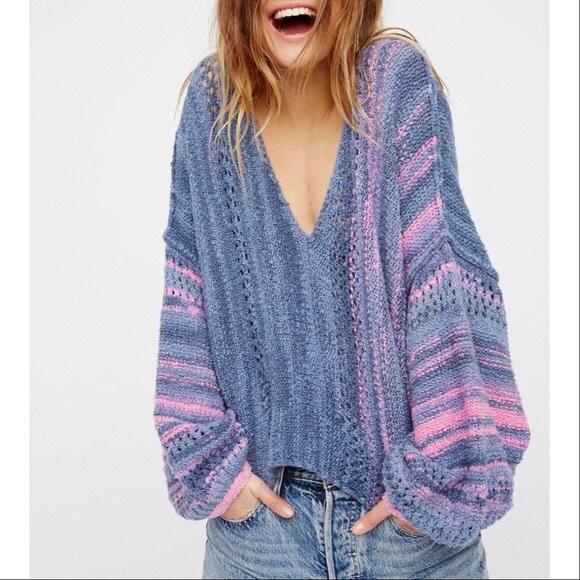 096fc5b85b55c Free People Sweaters - Free People Blue Pink Amethyst Crop Sweater Medium